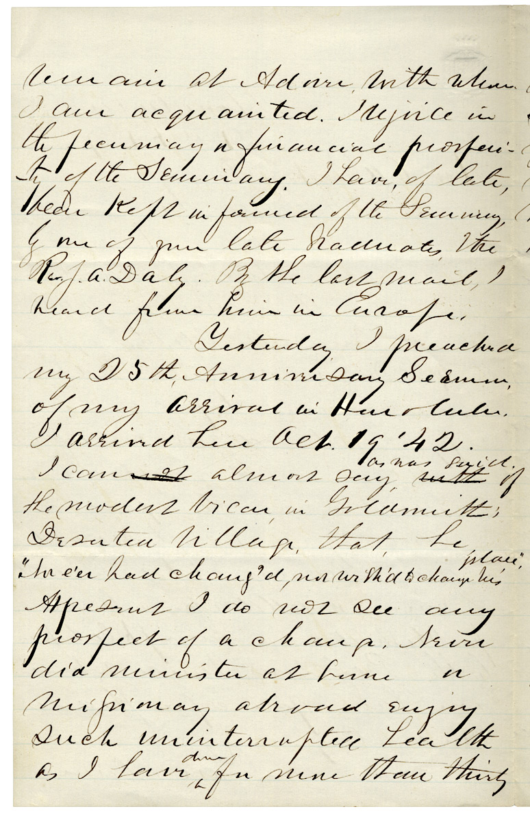 Autograph Letter Signed from Hawaiian Missionary Samuel C  Damon, publisher  of The Friend, the oldest published paper in the Pacific by Rev  Samuel C