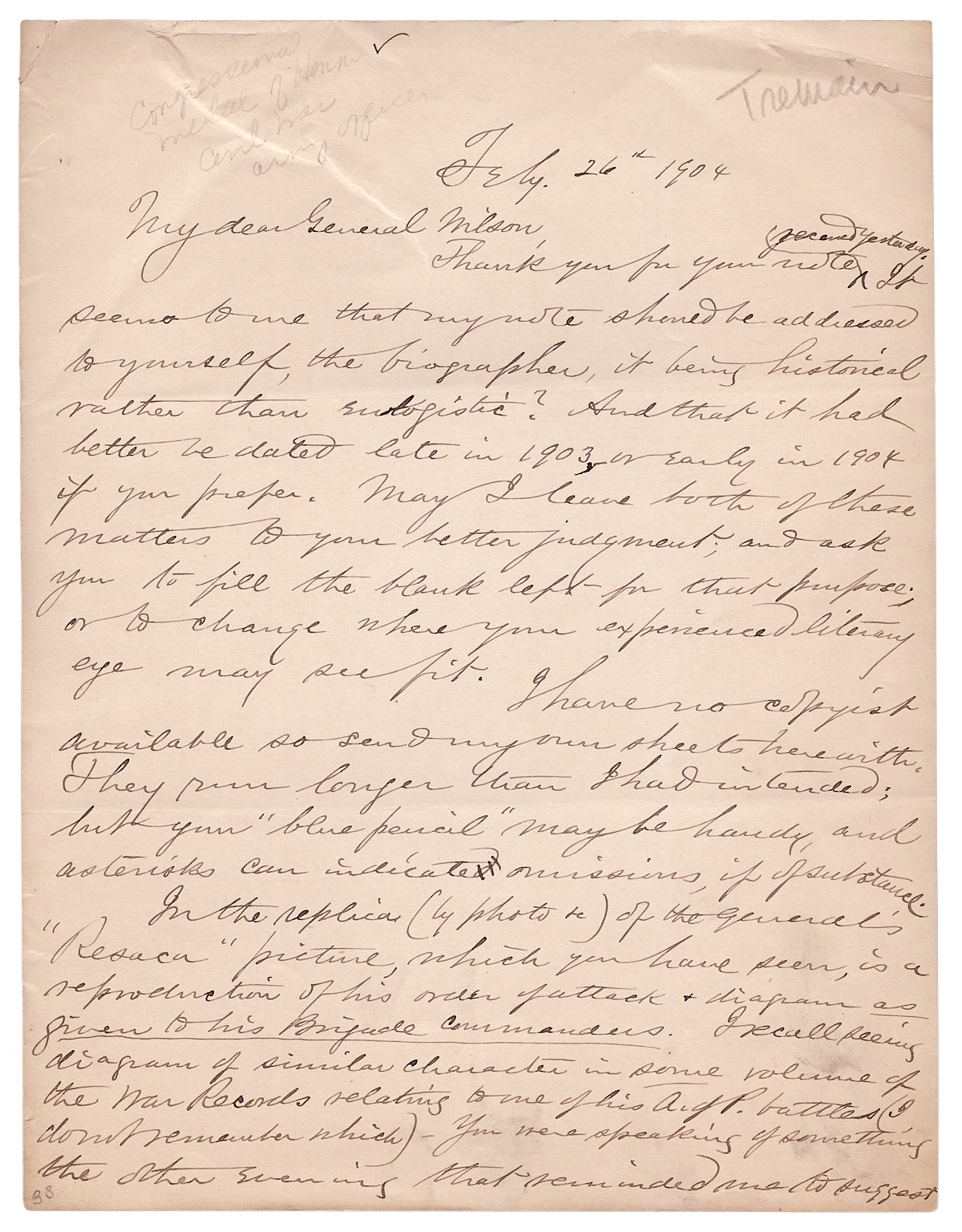 1904 Autograph Letter Signed By Henry E Tremain Georgian Civil War