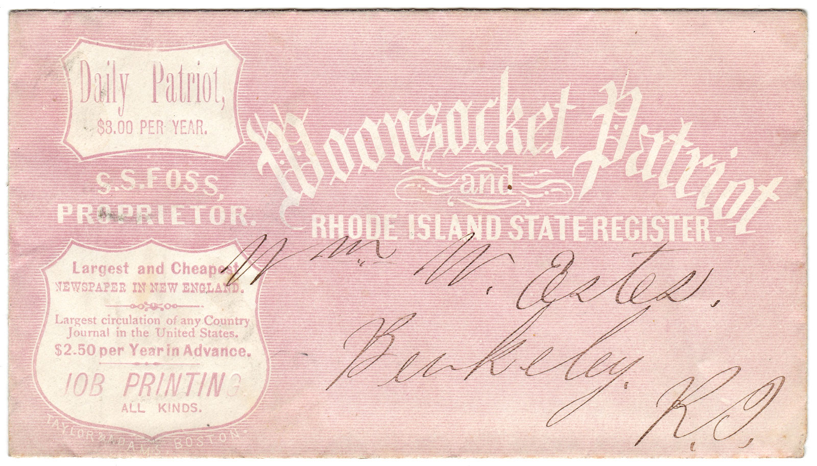 Rhode Island Printing Woonsocket Patriot and Rhode Island State Register  Advertorial Envelope by S  S  Foss Woonsocket Patriot, Proprietor on Ian