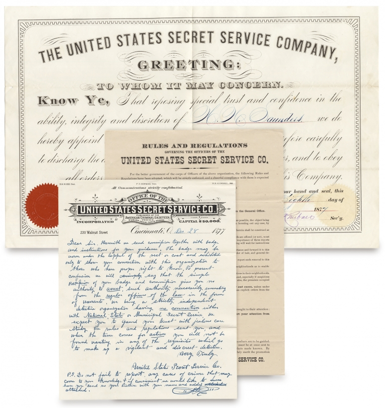 United States Secret Service Company. Three 1877 Ephemeral Items for Membership and Rules and Regulations of a Private Detective Force. United States Secret Service Co.