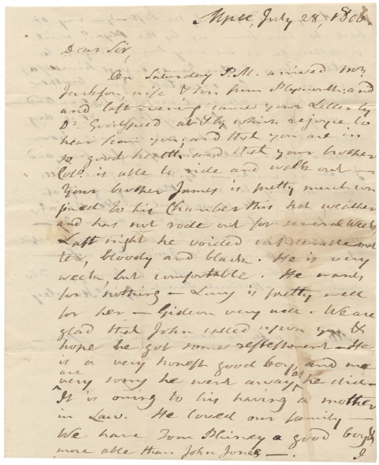 1806 Autograph Letter Signed from Gideon Hawley, Stockbridge and Mashpee, Massachusetts Indian Missionary to son-in-law and Kingston, Rhode Island merchant, Crocker Sampson. Gideon Hawley, 1727–1807.