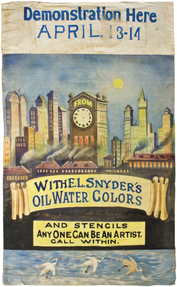 [Women Entrepreneurs, Edith L. Snyder:] Demonstration Here. April. 13–14. With E. L. Snyder's Oil Water Colors and Stencils Anyone Can Be an Artist. Call Within [caption title on painted cloth banner]. Edith L. Snyder.