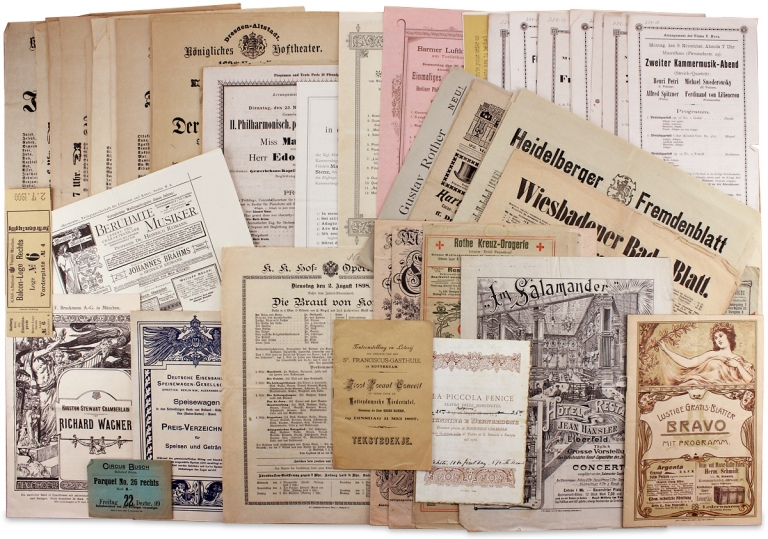 1897–1901 German and Austrian Belle Époque Musical Concert Programs; with related Ephemera; 72 items. Theaters and Composers.
