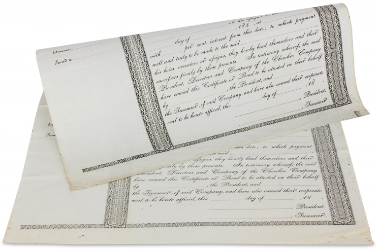 [Two c. 1845–1849 Bond Certificates of the Cherokee Company of North Carolina, from the time of the Indian Removals]. Cherokee Company, William Holland Thomas.