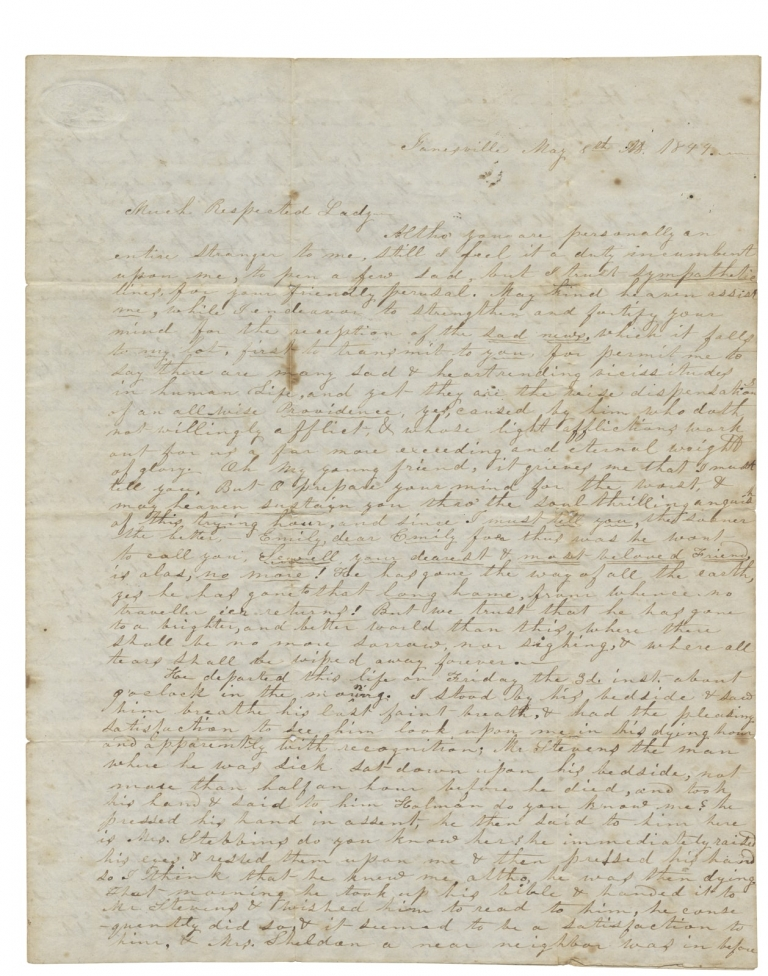 [1844 Autograph Letter Signed by Mrs. M. A. Stebbins of Janesville, Wisconsin Territory to Emily A. Chase of Warwick, Massachusetts]. Mary A. Stebbins.
