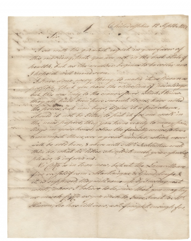 """[1804 Autograph Letter Signed by """"Woche"""" (or """"Wocke"""") in Philadelphia to John H. Christopher Heineken, a consul-general from the United Provinces of Netherlands, in nearby Germantown]. """"Woche"""" or """"Wocke""""."""