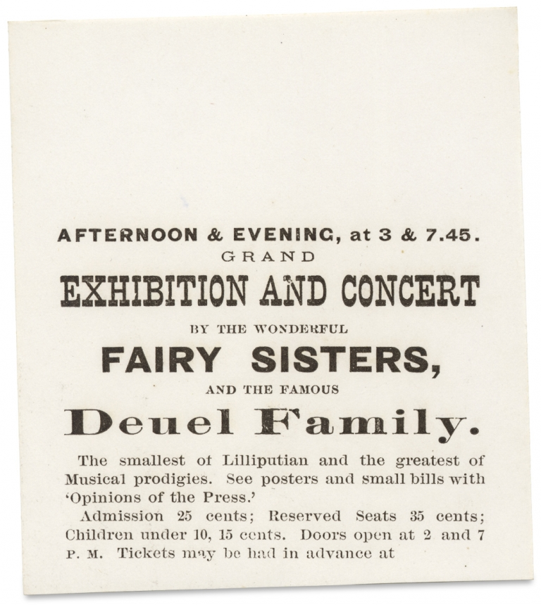 [The Fairy Sisters. Midget Performers Cassie and Victoria Foster, ca. 1872–1873 Promotional Ephemera]. Catherine Foster, Victoria Foster, Agent Fred A. Pickering.