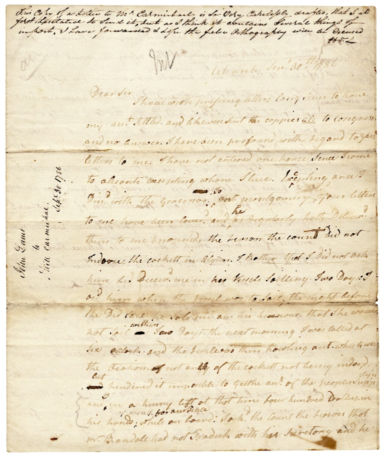 1786 Autograph Letter Signed by John Lamb, American Hostage Negotiator with Algeria in the First Barbary War, to American Chargé d'Affaires in Spain, William Carmichael. John Lamb, c. 1739–1795, William Carmichael.