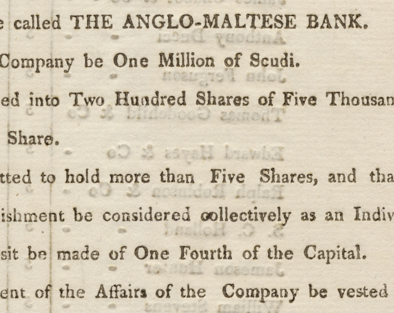 [Printed 1809 Circular Establishing the Anglo-Maltese Bank in Malta]. Anglo-Maltese Bank.