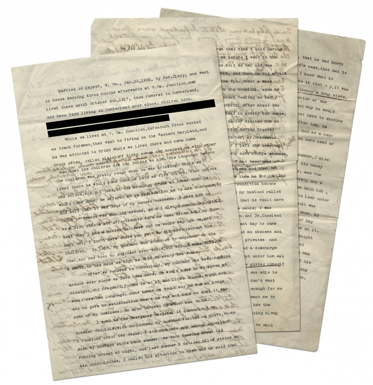[Two Legal Documents with Testimony concerning the Marriage of Lorenzo D. W_____ and his Spouse]. Mrs. Lorenzo D. W_____, and, Unk.