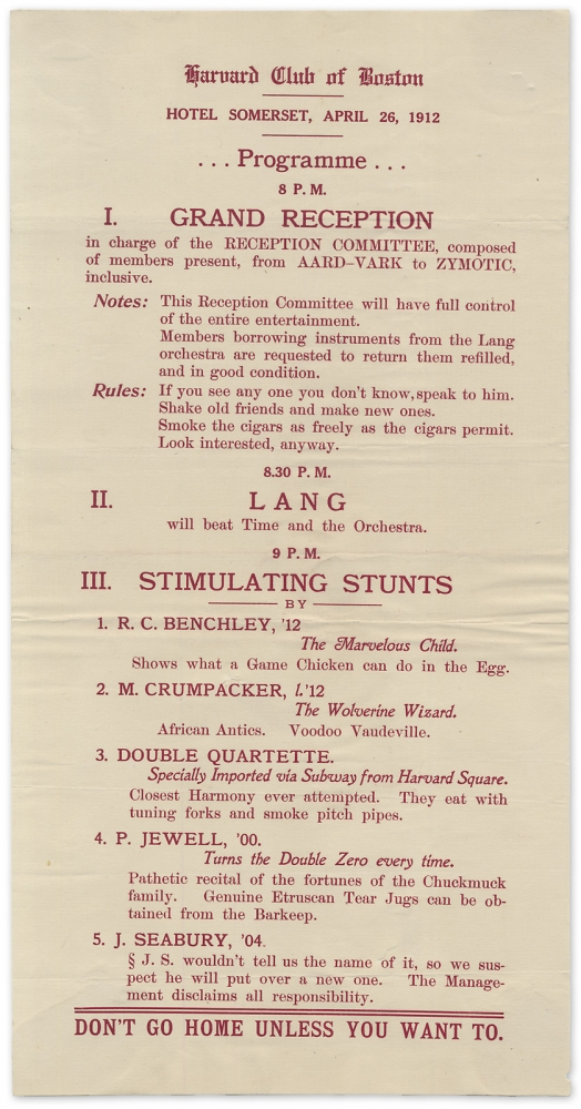 Robert Benchley [and] The Marvelous Child [within:] Harvard Club of Boston ... 1912 ... Programme. R. C. Benchley, 1889–1989.