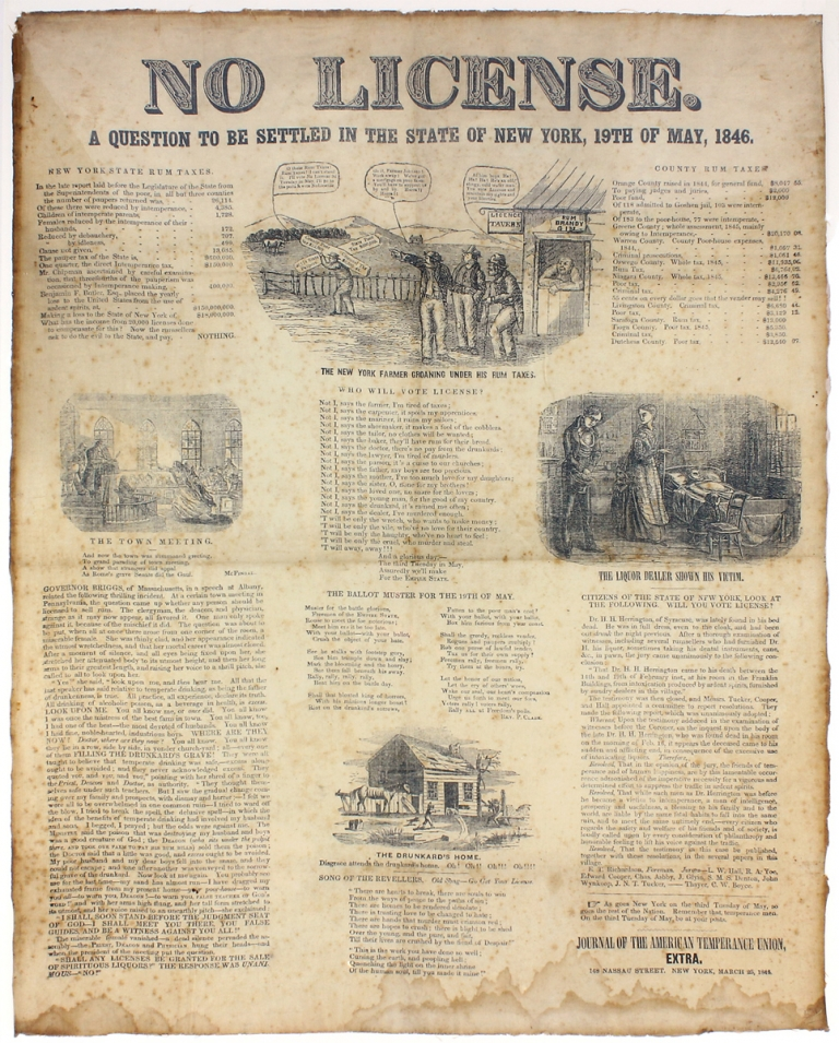 No License. A Question to be Settled in the State of New York, 19th of May, 1846…. Journal of The American Temperance Union.