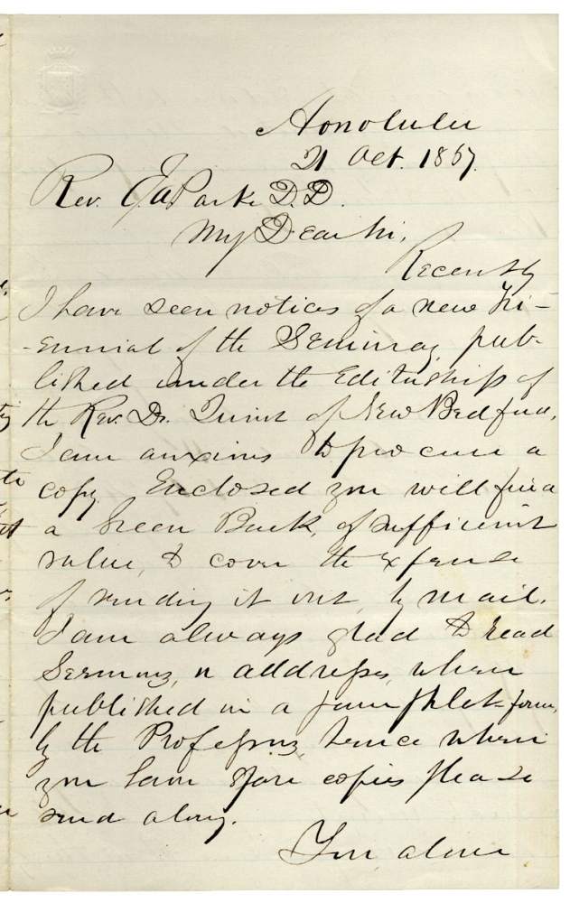 [Autograph Letter Signed from Hawaiian Missionary Samuel C. Damon, publisher of The Friend, the oldest published paper in the Pacific]. Rev. Samuel C. Damon, 1815–1885.