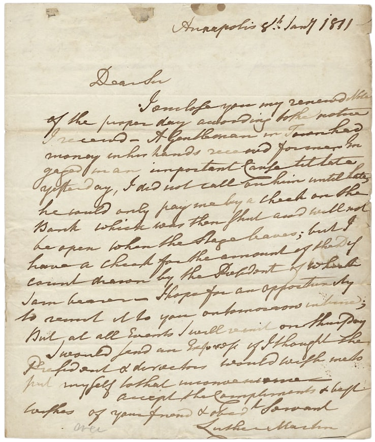 1811 Autograph Letter Signed by Luther Martin, Maryland Lawyer and Anti-Federalist. Luther Martin, 1748–1826.