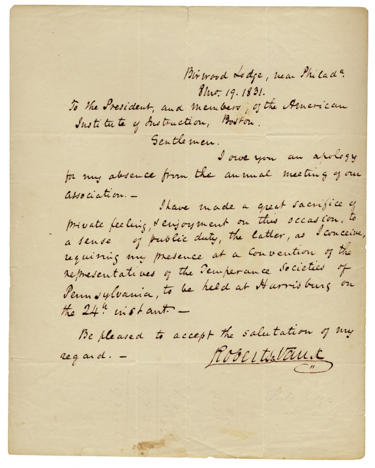 1831 Autograph Letter Signed by Roberts Vaux, Pennsylvania Abolitionist, Reformer of Education and Prisons, and Jurist. Roberts Vaux, 1786–1836.