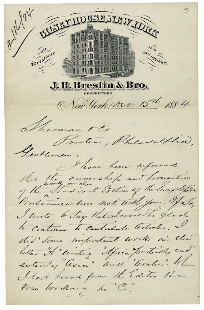 1884 Autograph Letter Signed by Alvan S. Southworth, former Secretary to the American Geographical Society, Travel Writer, Journalist. Alvan S. Southworth, 1845–1901.
