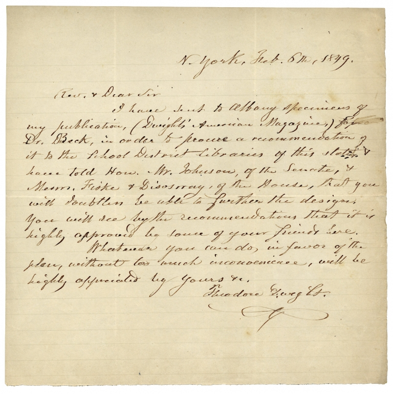 1849 Autograph Letter Signed by Theodore Dwight seeking recommendations for his Dwight's American Magazine. Theodore Dwight, 1796–1866.