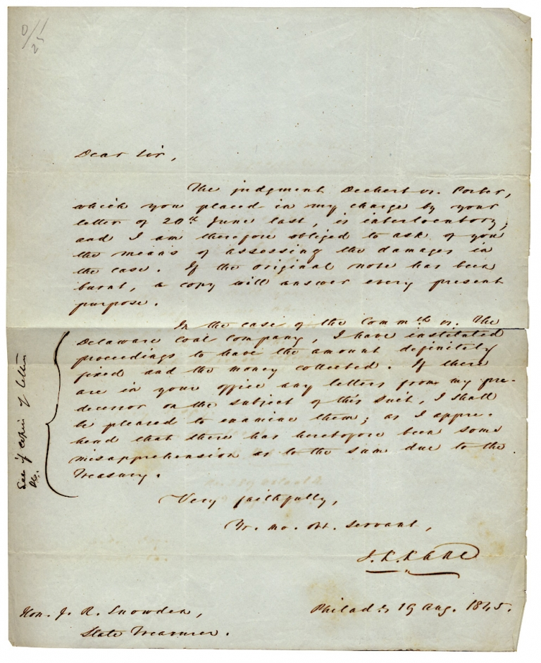 1845 Autograph Letter Signed by Jurist John Kintzing Kane, presiding Judge of the Fugitive Slave Law Trial of Passmore Williamson. J K. Kane, 1795–1858, John Kintzing Kane.