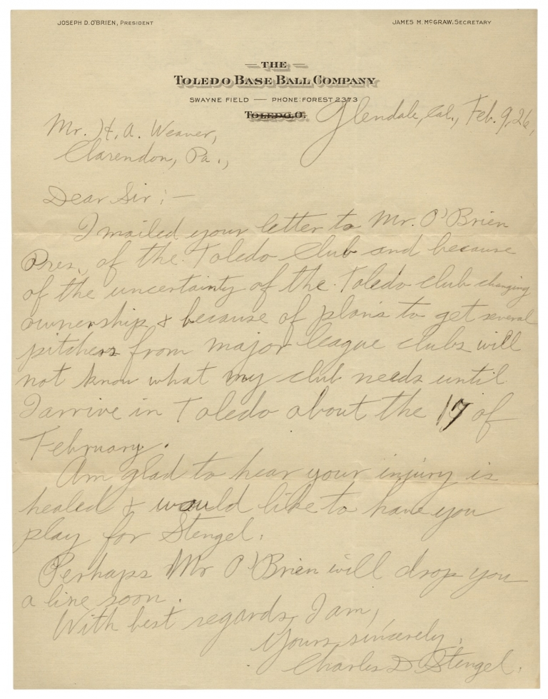 "[1926 Autograph Letter Signed by Casey Stengel, Baseball Hall of Famer, from his Early Managerial Career; with Five Letters from other Baseball Executives and a Player]. Charles D. Stengel, 1890–1975, 1892–1983, Charles Dillon ""Casey"" Stengel, Harry A. Weaver."