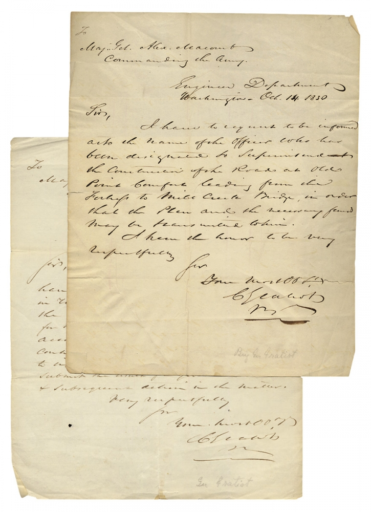 1830 Autograph Letter Signed by Col. Charles Gratiot, U.S. Army Chief Engineer, Constructing a Road near Old Point Comfort, Virginia. Charles Gratiot, 1786–1855.