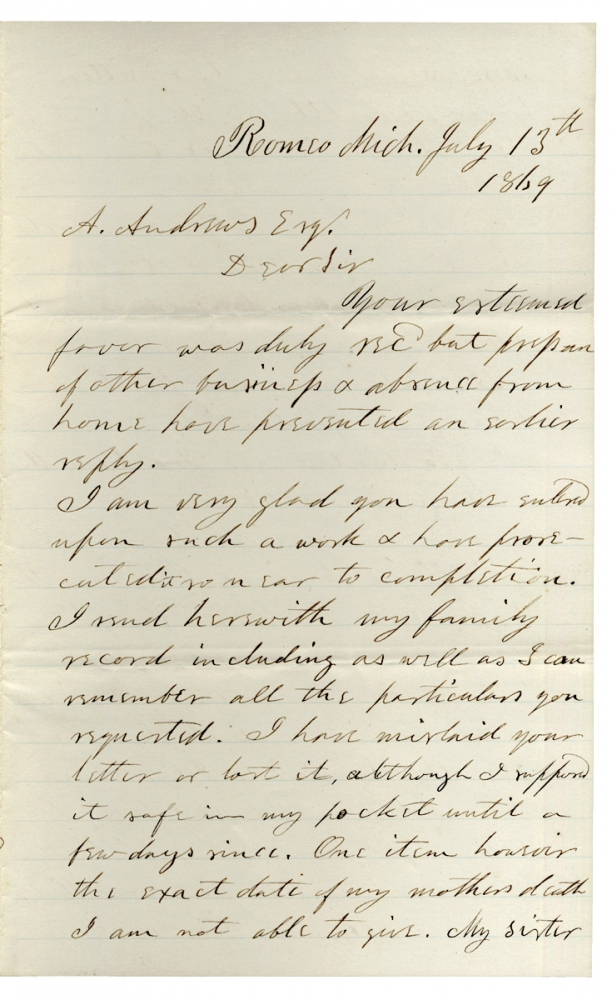 1869 Autograph Letter Signed by former Hawaiian Medical Missionary Seth L. Andrews from Romeo, Michigan. Seth L. Andrews, 1809–1883.
