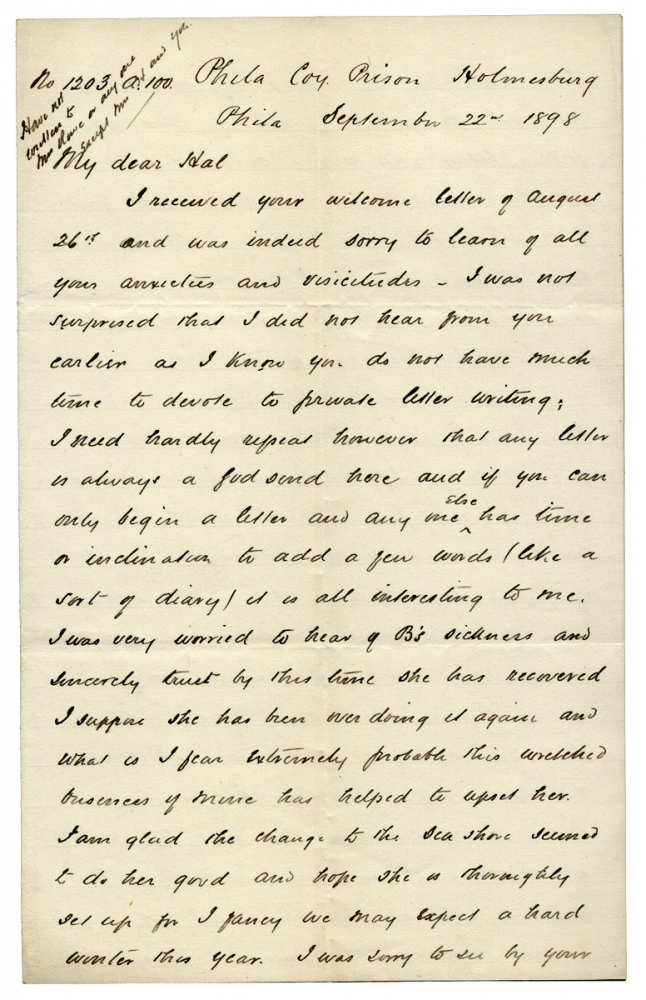 [1898 Autograph Letter Signed by a Convict; Life as a Runner in Prison in Philadelphia]. No. 1203 Arthur.