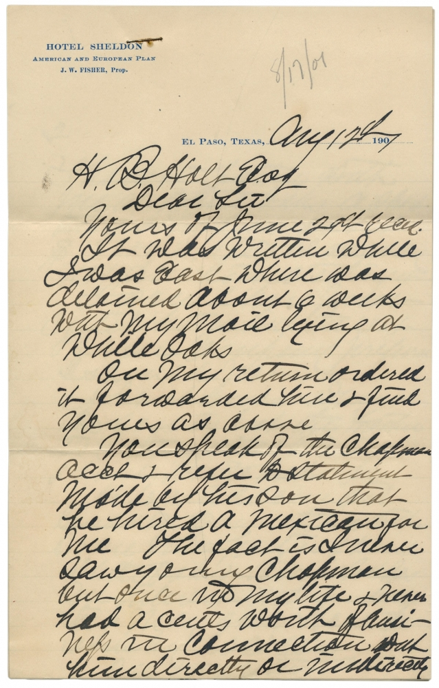 """1901 Autograph Letter Signed by James Bean, Brother of Legendary Judge Roy Bean—""""The Law West of the Pecos."""". James Bean, ca. 1821–?, James C. Bean."""