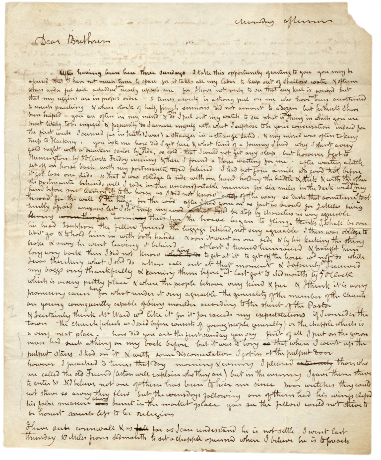 Ca. 1820s Autograph Letter Signed by Novice British Evangelist J. A. Roberts. J. A. Roberts.