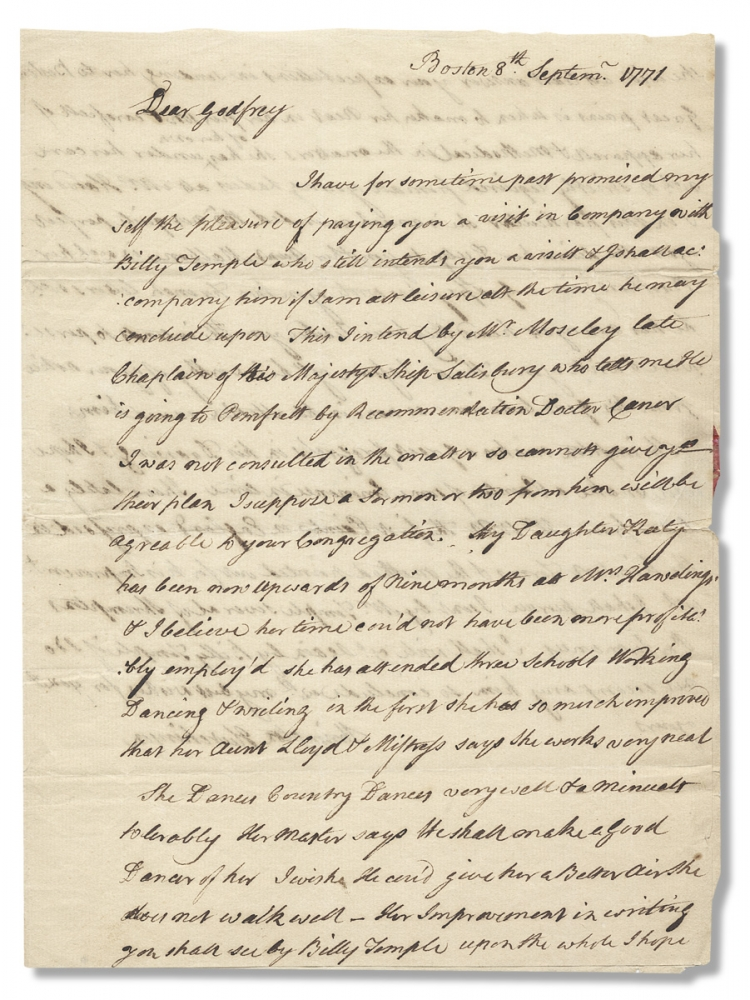 [1771 Autograph Letter Signed by Shrimpton Hutchinson on receiving American artist Benjamin West's letter and his daughter's education]. Shrimpton Hutchinson, 1735–?