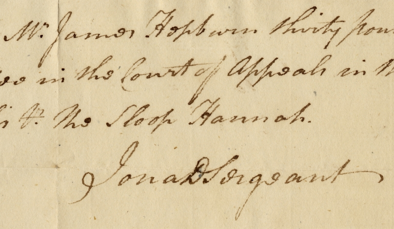 [1781 Autograph Document Signed of Jonathan Dickinson Sergeant, as Lawyer in Private Practice]. Jonathan Dickinson Sergeant, 1793 1746 – October 8.