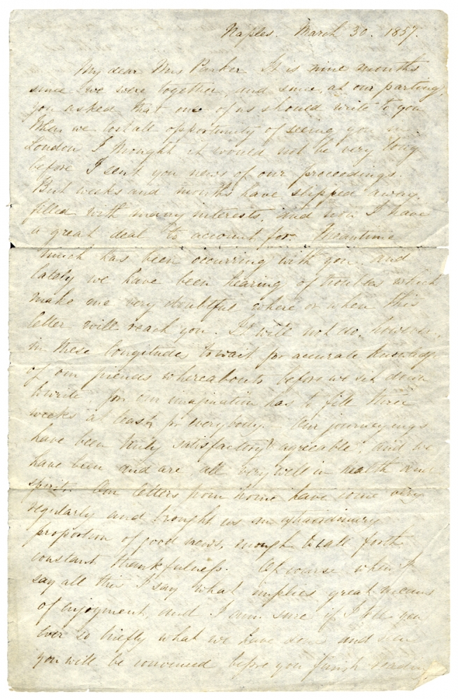 1867 Autograph Letter Signed by Anna Eliot Ticknor, Author, Educator, Founder of America's First Correspondence School. Anna Eliot Ticknor, 1823–1896.