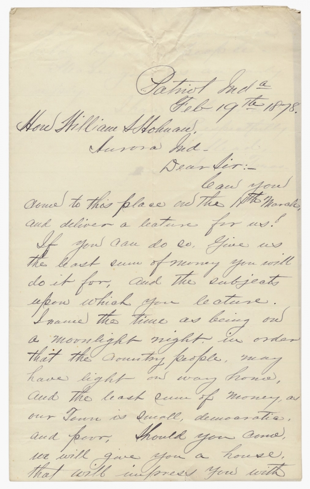 1878 ALS to William S. Holman, Indiana Democratic Politician and Congressman, Inviting Him to Lecture. S. Mead, Hon. William S. Holman, 1822–1897, William Steele Holman.