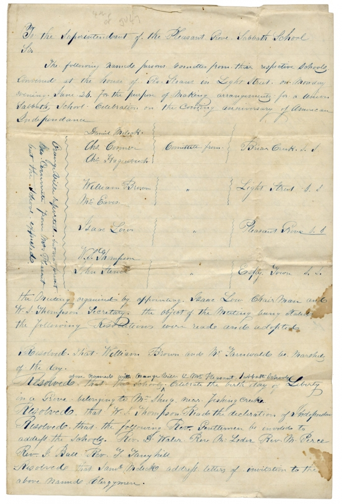 Manuscript Resolutions to Organize a Fourth of July Procession ca. 1843, in Columbia County, Pennsylvania. Secretary W S. Thompson, Isaac Low.