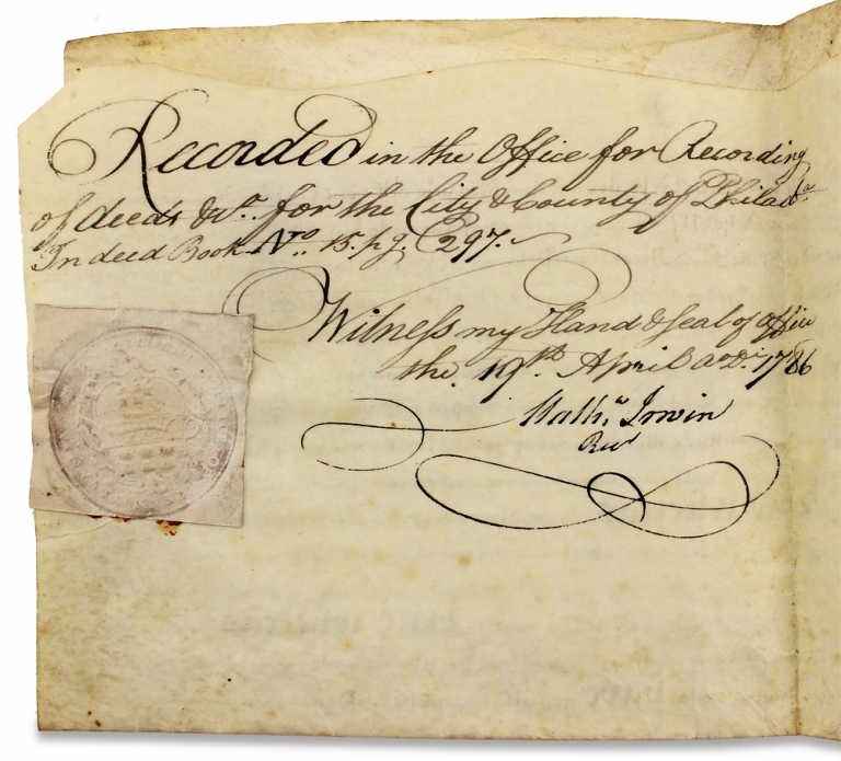 [1743 Land Indenture Signed by Anthony Morris, Brewer and Mayor of Philadelphia]. Jonathan Biles, Ann Biles, Mathew Irwin Anthony Morris, II.