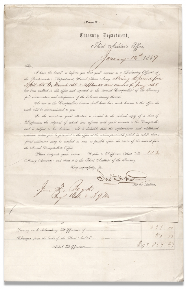 [Statement of Differences arising on settlement of the accounts of Joseph Fulton Boyd Brig. Genl. A.Q.M. for disbursements in the Quartermaster's Department ... from April 1865 to March 1866 and… January 1868]. for the Auditor Chas. H. Brown, A Q. M., 1832–1907 Joseph Fulton Boyd, Brig. Genl. [Bvt J F. Boyd.