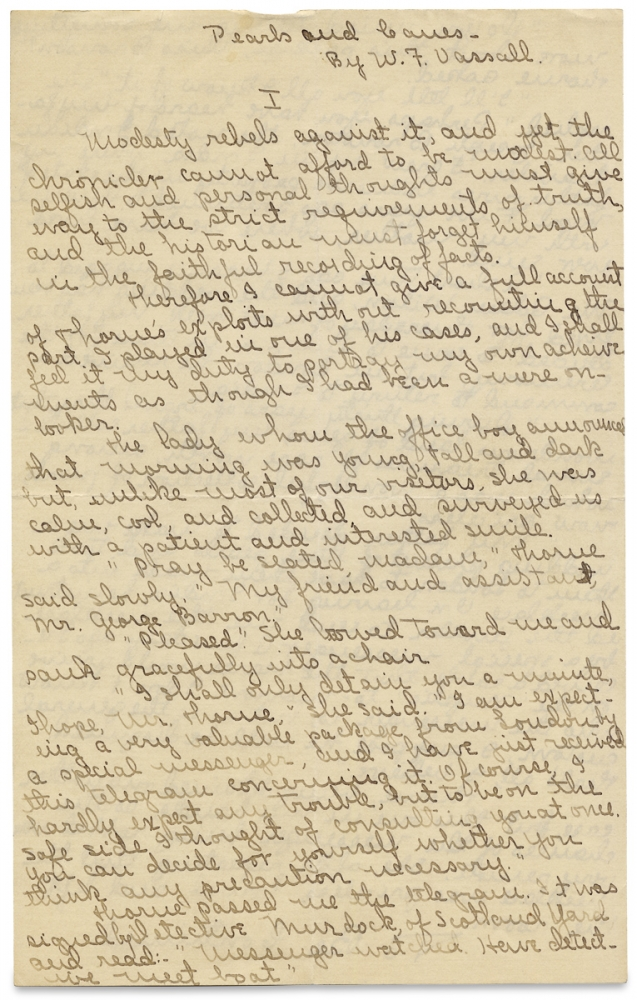 "[Manuscript of William F. Vassall's 1916 New York City Mystery ""Pearls and Canes,"" published in Detective Story Magazine]. William F. Vassall."
