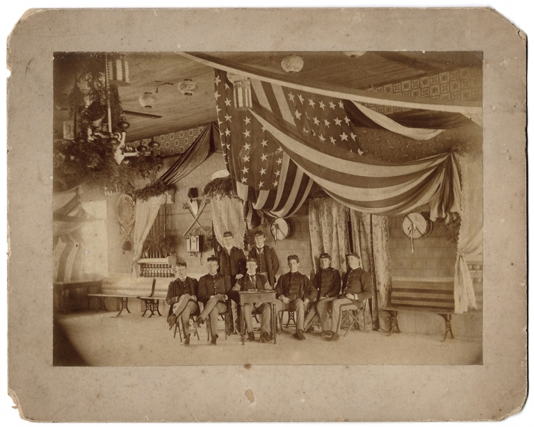 [C.1880s Albumen Photograph of Cadets at Cayuga Lake Military Academy, Aurora, New York]. Cayuga Lake Military Academy, 1870–?, Walter Douglas Young.