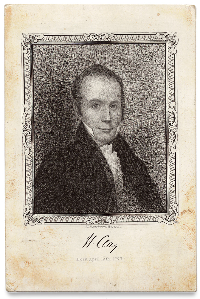 [Henry Clay Souvenir Card Engraved by Nathaniel Dearborn]. N. Dearborn, 1786–1852, 1777–1852, Nathaniel Dearborn, Henry Clay.