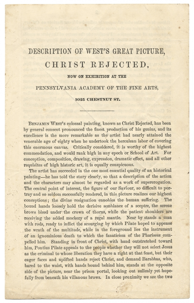 [John Sartain:] Description of West's Great Picture, Christ Rejected, Now on Exhibition at the Pennsylvania Academy of Fine Arts…. John Sartain, 1808–1897, 1738–1820, Benjamin West.