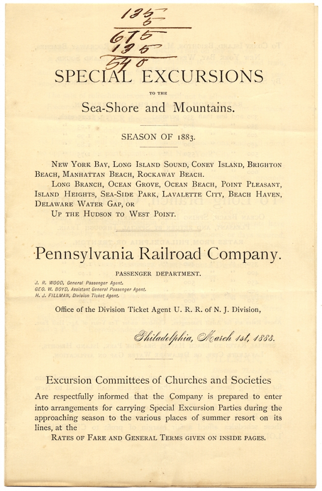 Special Excursions to the Sea-Shore and Mountains. Season of 1883. P R. R.