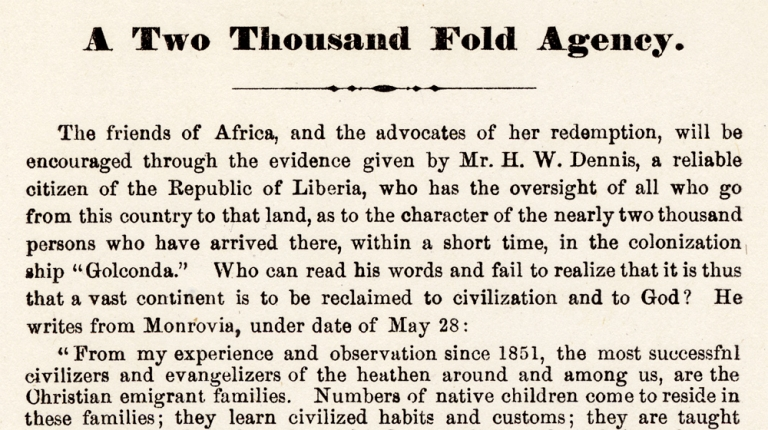 A Two Thousand Fold Agency. [Liberia, Africa Colonization Schemes]. B F. Romaine, 1820–1874, Rev. Benjamin Franklin Romaine.