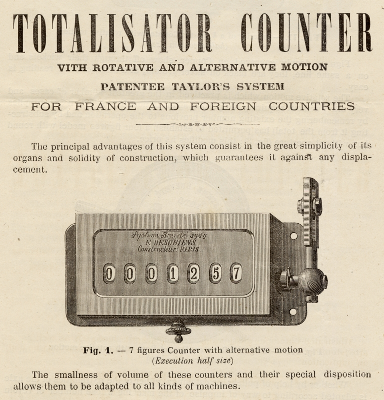 Electric Telegraphy and Horology ... Totalisator Counter with Rotative and Alternative Motion, Patentee Taylor's System… [c.1875 technology; trade product literature]. E. Deschiens, Eugène Deschiens.