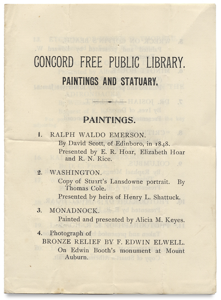 [Thoreau & the Transcendentalists:] Concord Free Public Library. Paintings and Statuary. Paintings. Henry David Thoreau, Ralph Waldo Emerson, Louisa May Alcott, Nathaniel Hawthorne, A. Bronson Alcott.