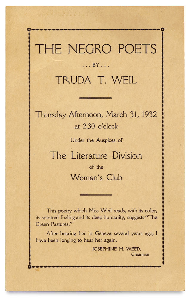 The Negro Poets by Truda Weil. Thursday Afternoon ... 1932 ... The Literature Division of the Woman's Club. Truda T. Weil, d.1971, 1870–1942, Dr. Christian Brinton.
