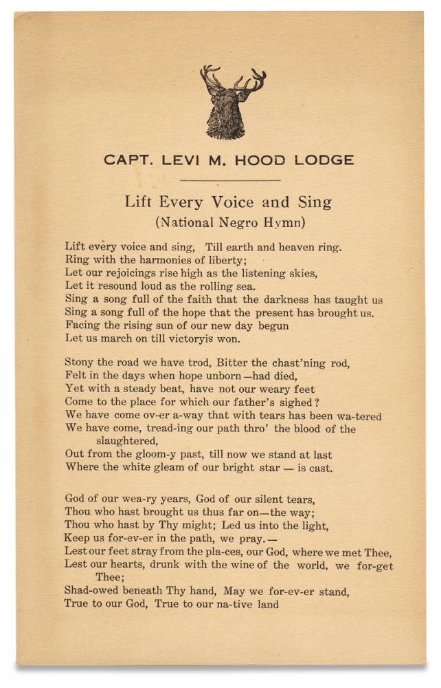 Capt. Levi M. Hood Lodge. Lift Every Voice and Sing (National Negro Hymn). James Weldon Johnson, Improved Benevolent, Protective Order of Elks of the World, 1871–1938.