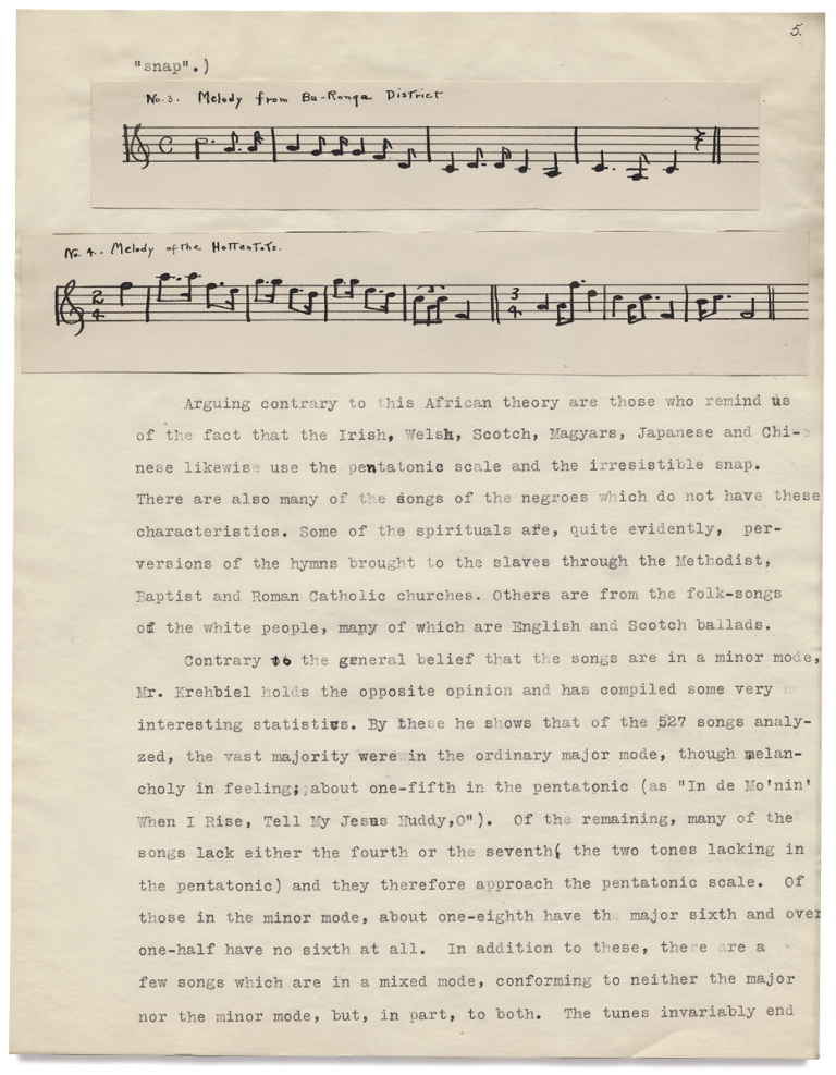 """""""The Folk Songs of Our Southern Negro."""" [College Term Paper]. Mary Louise Fryberger."""