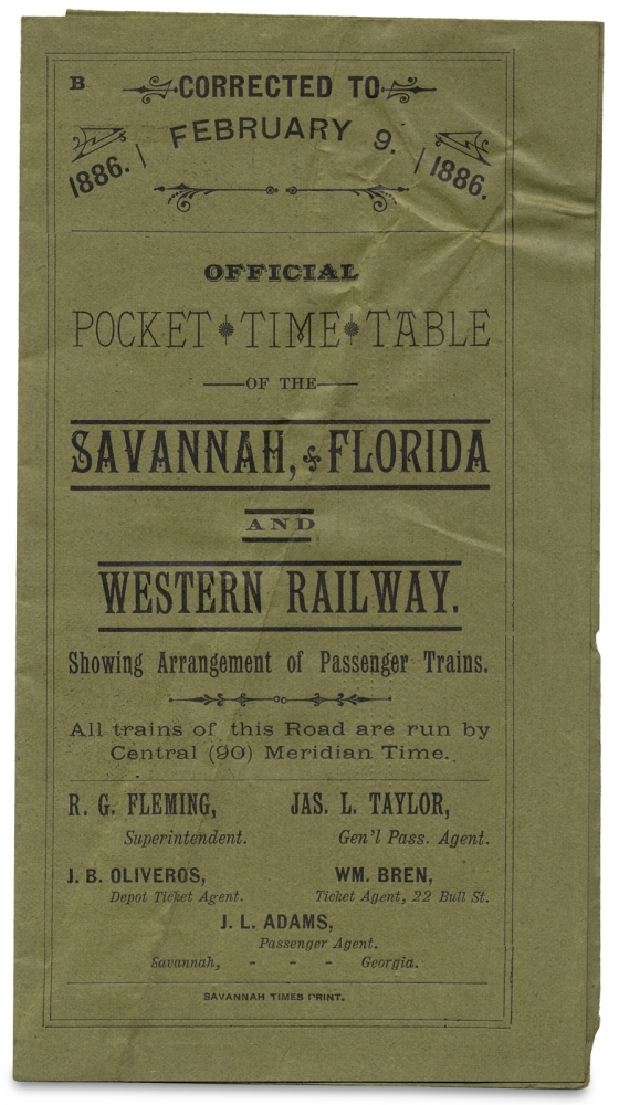 Official Pocket Time Table of the Savannah, Florida and Western Railway. Showing Arrangement of Passenger Trains. [With Map]. The Company.