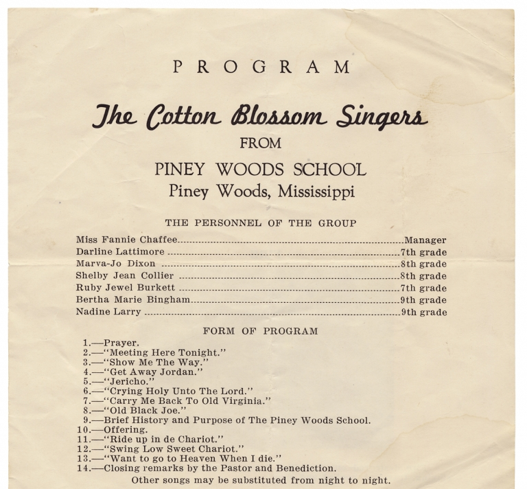 [Cotton Blossom Singers of the Piney Woods School in Mississippi]. Laurence C. Jones, 1882–1975, The Cotton Blossom Singers, Piney Woods School.