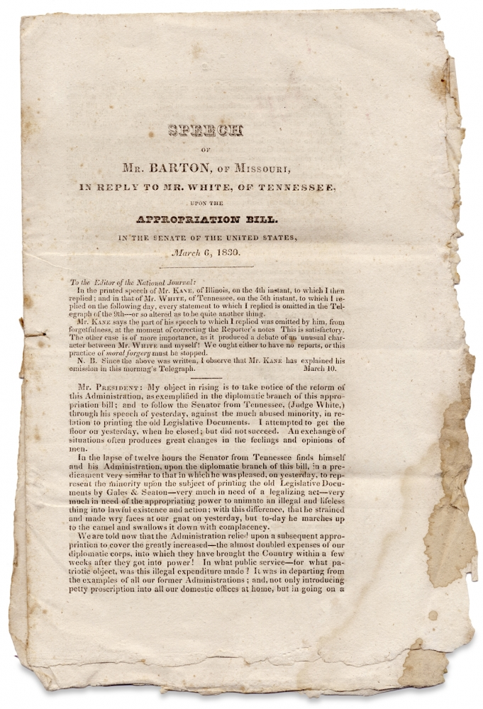 Speech of Mr. Barton, of Missouri, in Reply to Mr. White, of Tennessee, Upon the Appropriation Bill. In the Senate of the United States, March 6, 1830. David Barton, 1783–1837, 1773–1840, Hugh L. White.