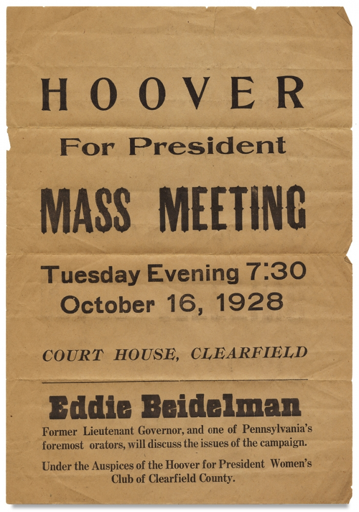Hoover for President. Mass Meeting… [opening lines of Pennsylvania broadside]. Herbert Hoover.